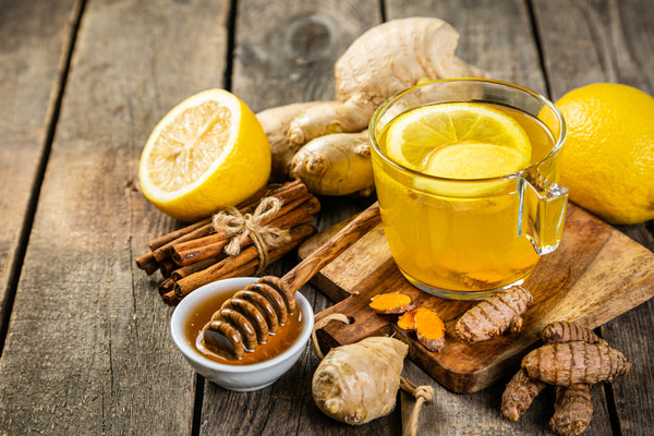 Immunity boosters - lemon, honey, ginger, cinnamon and turmeric