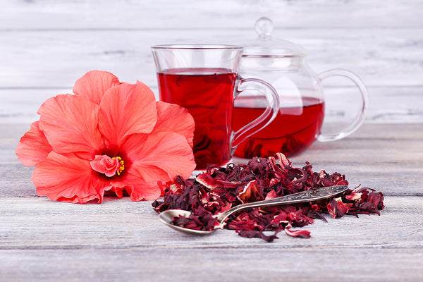 hibiscus flower, dried and as a tea