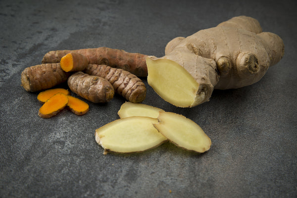 fresh ginger and turmeric root