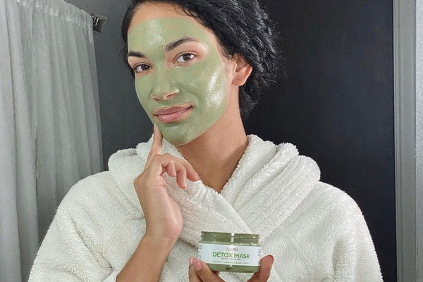 woman with Teami Green Tea Detox Mask