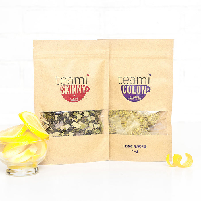 Teami Blends Skinny Tea & Colon Tea with lemon peels