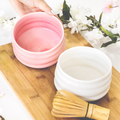 Teami Blends Pink & White Ceramic Matcha Tea Bowls with Matcha Tea Whisk