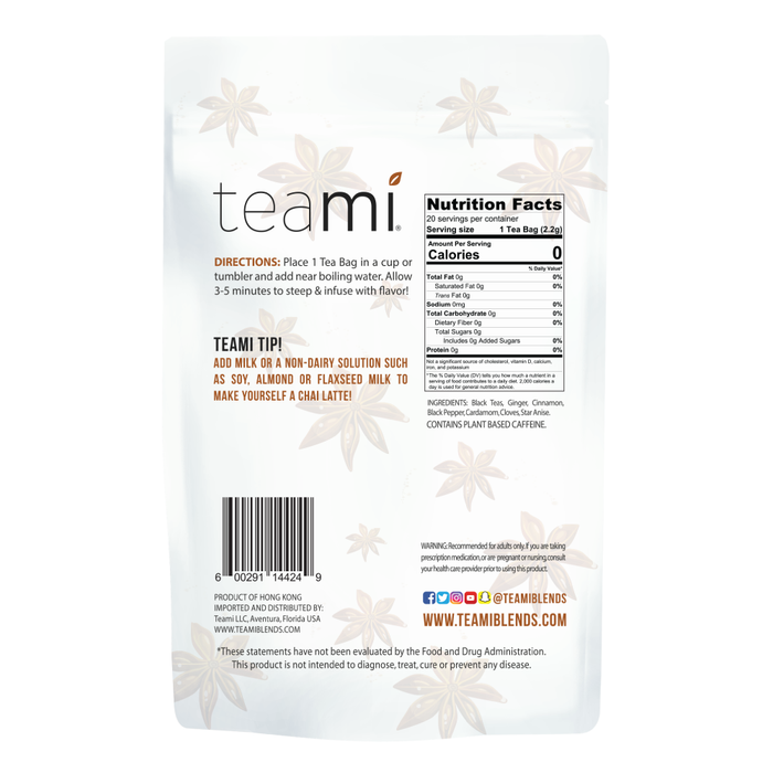 Teami Chai Tea Blend back
