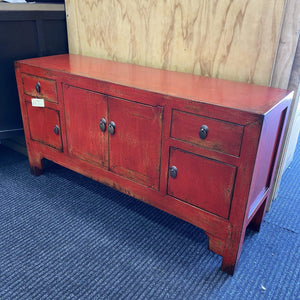 Antique Red Sideboard Asian Red Cabinet