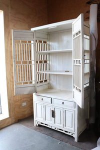 Bookcases/Cabinets Large White Cabinet with Traditional Asian Slatted Design and Cupboards