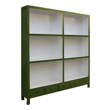 Load image into Gallery viewer, Bookcases/Cabinets XL Bookshelf - Green Extra-Large Wooden Lacquered Green Bookcase - Impulse Imports
