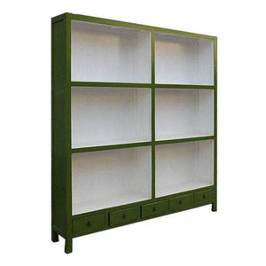 Bookcases/Cabinets XL Bookshelf - Green Extra-Large Wooden Lacquered Green Bookcase - Impulse Imports