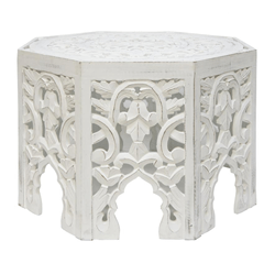 GYPSY WOOD CARVED COFFEE TABLE WHITE WASH
