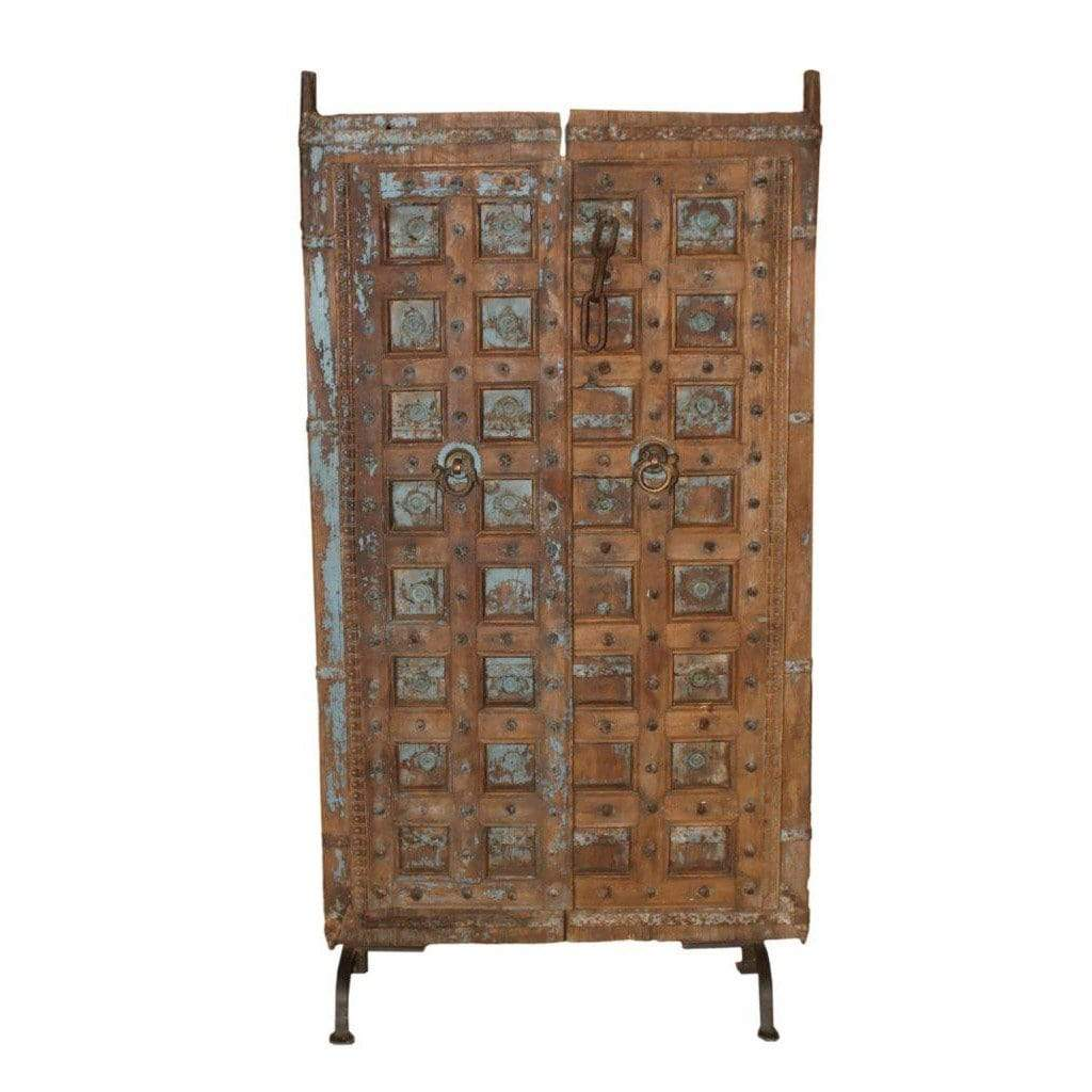 Home Decor Hand-Carved Wooden Door Panel from India - On Iron Legs Ornate Anqitue Carved Wooden Art Panel from India - Impulse Imports