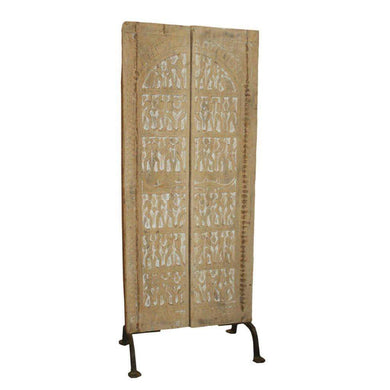 Home Decor Indian Handmade Door Panel Ornate Anqitue Carved Wooden Art Panel from India - Impulse Imports