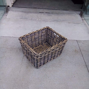 Home Decor Rustic Black Cane Baskets with Decoration Weave - Small