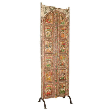 Home Decor Stunning Hand-Painted Wooden Art Door Panel from India - On Iron Legs Antique Hand-Painted Wooden Art Panel from India - Impulse Imports