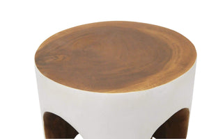 Kiara Wooden Drum Stool White Wash
