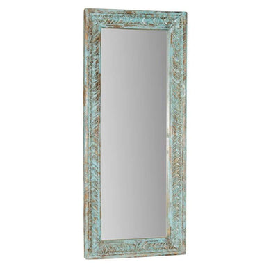 Mirrors Teal Indian Hand-carved Mirror Beautiful Anqitue Style Mirror in Light Blue - Impulse Imports
