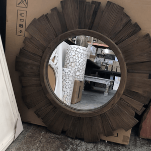 Recycled Wood Mirror (Round)