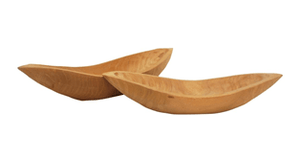 S2 BOAT CARVED WOOD BOWLS NATURAL