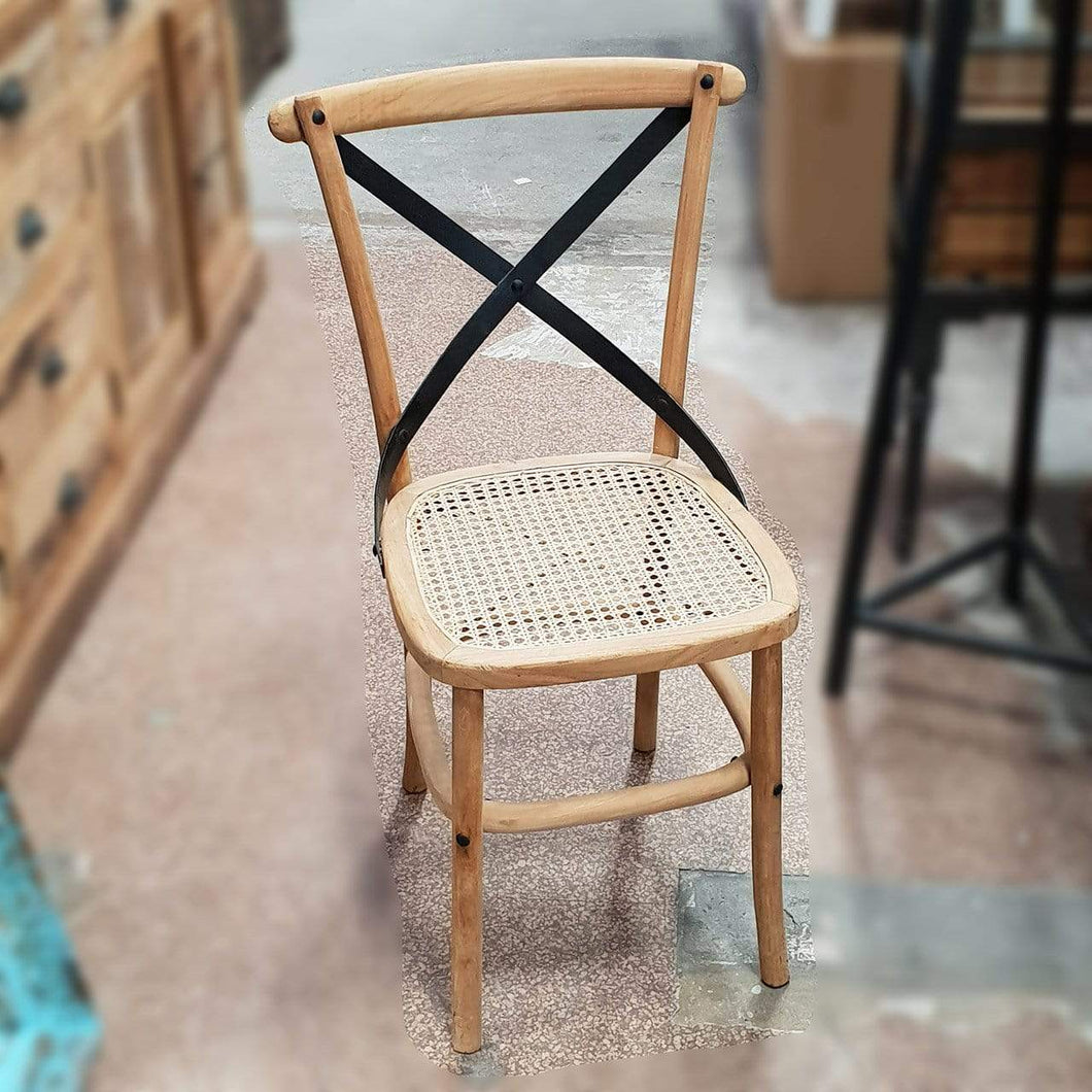Seating Teak Dining Chairs with Iron Cross Back