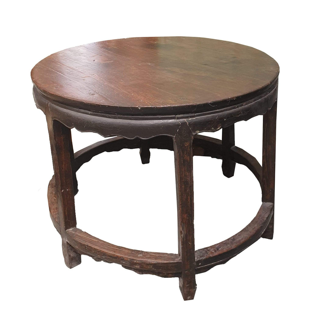 Tables True Antique Round Wooden Table - Sino Collection