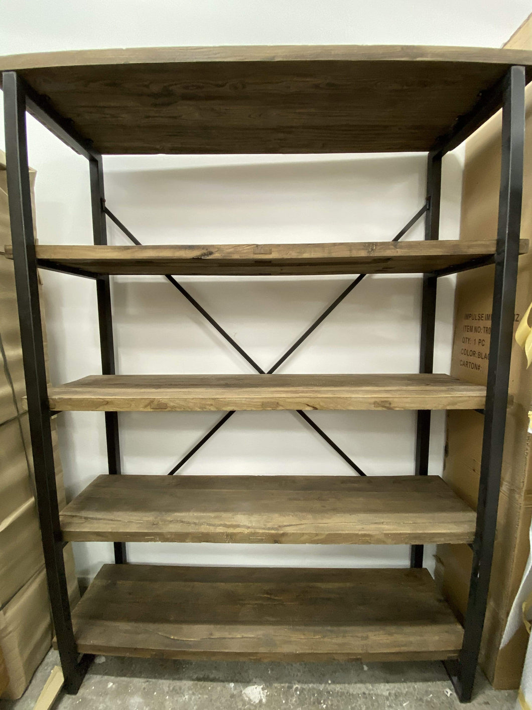 XL Bookcase - Recycled Fir Wood & Metal