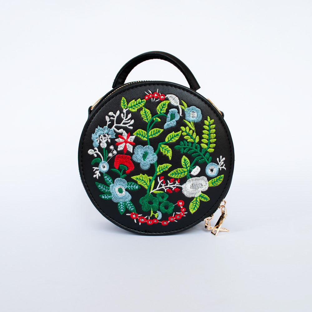 Billie in Black - Floral embroidered bag
