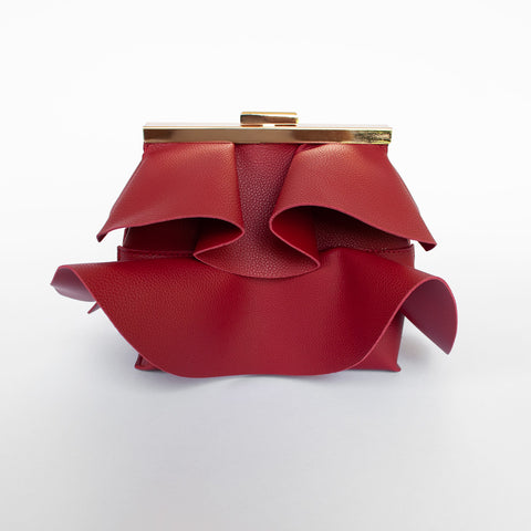 Jennifer - Burgundy Red ruffled statement clutch