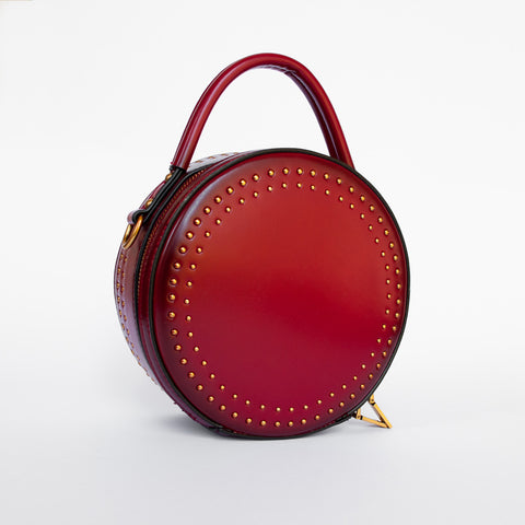 Catherine in Burgundy - Leather round clutch bag