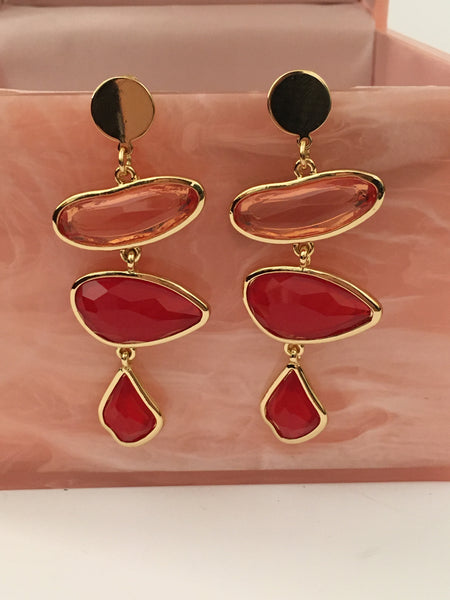 Shades of pink - drop earrings
