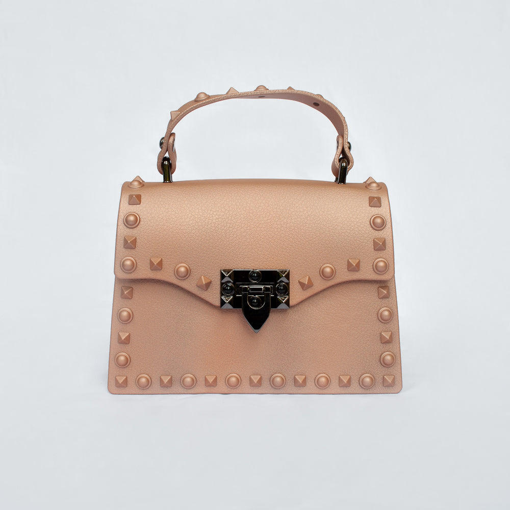 Vixen in Rose Gold- studded jelly clutch bag
