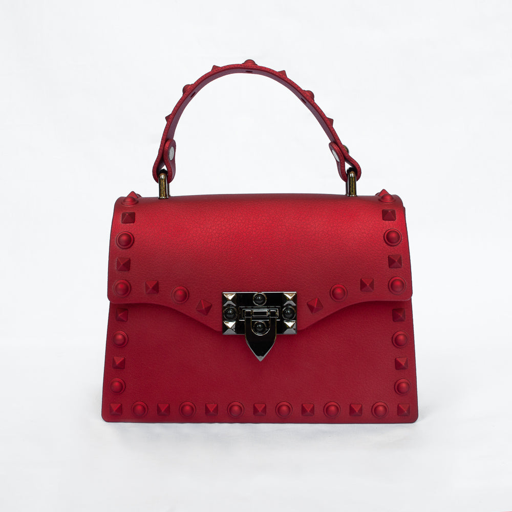 Vixen in Red - Studded jelly clutch bag