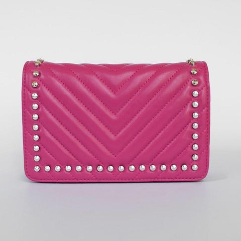 Femme - Black/ Pink leather clutch bag