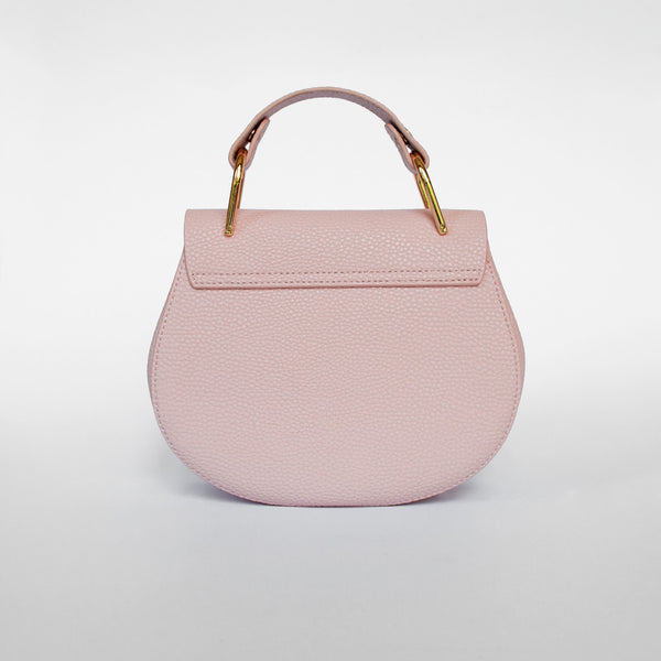 Sophia with handle - Pink Leather Clutch Bag