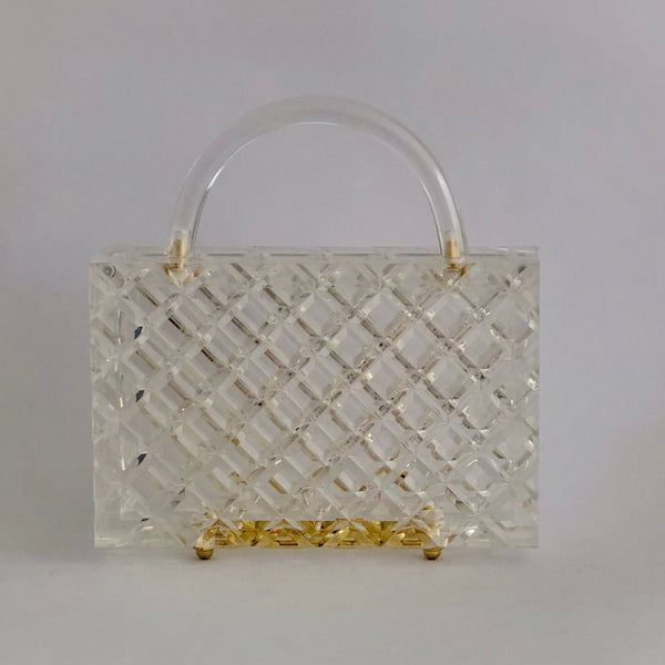Crystal in Clear - diamond top handle bag