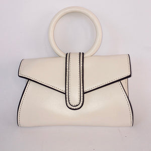 Stevie in White - Mini top handle clutch bag