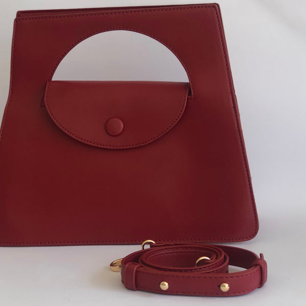 Prudence in Deep Red - Top handle bag