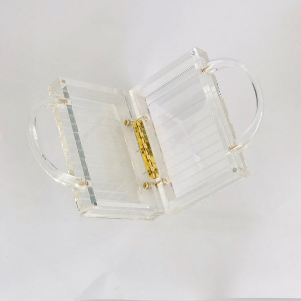 Crystal in Clear - Stripe top handle bag