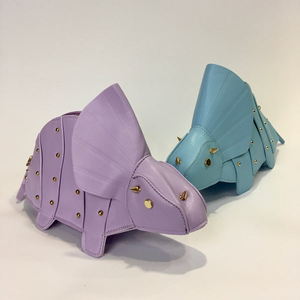 Sara in Lilac - TriSARAtops dinosaur clutch bag