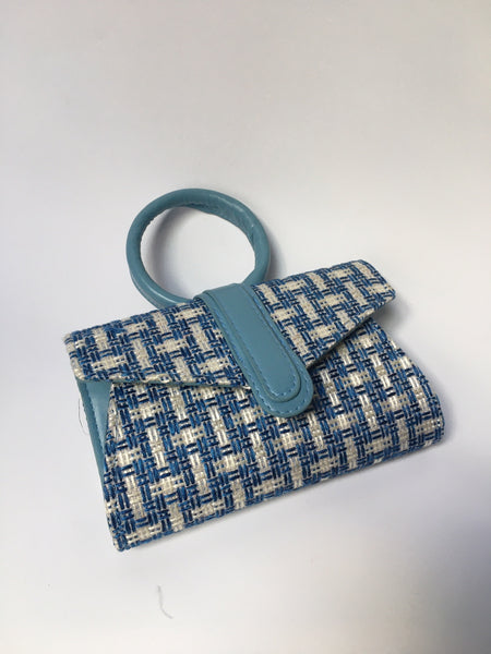 Stevie in Blue Plaid  - Top handle clutch bag