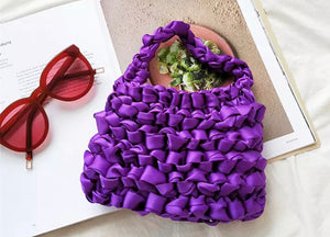 Purple Daze - Top handle silk knotted bag