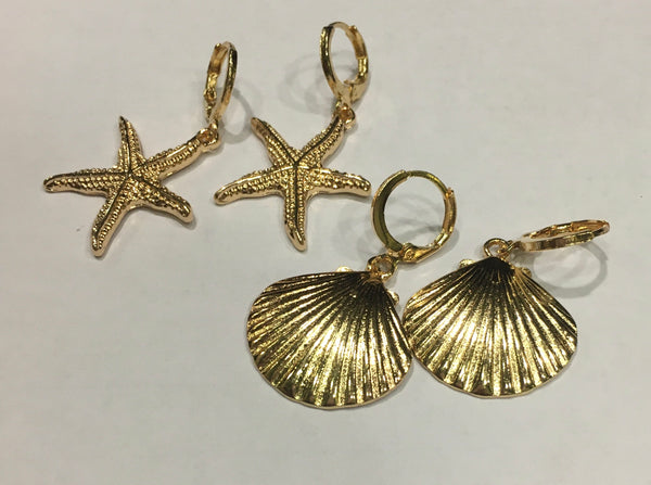 Golden Sea Shell and Starfish - hoop earrings