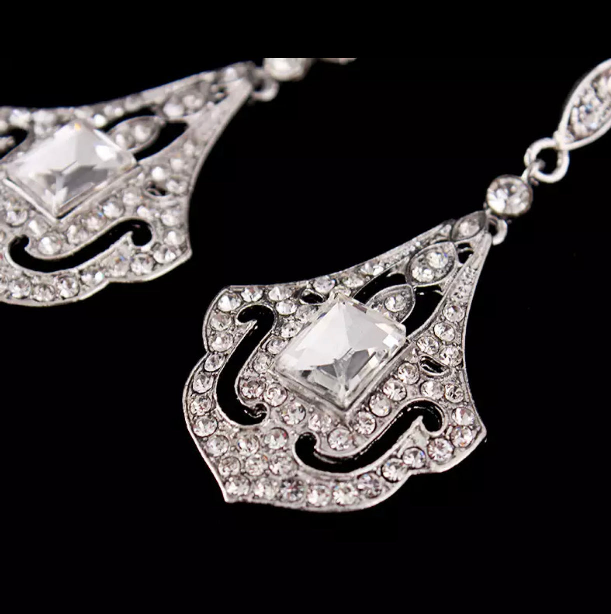 Art Deco - Crystal rhinestone drop earrings