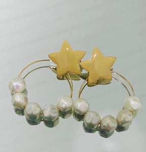 Star and Iridescent hoop earrings