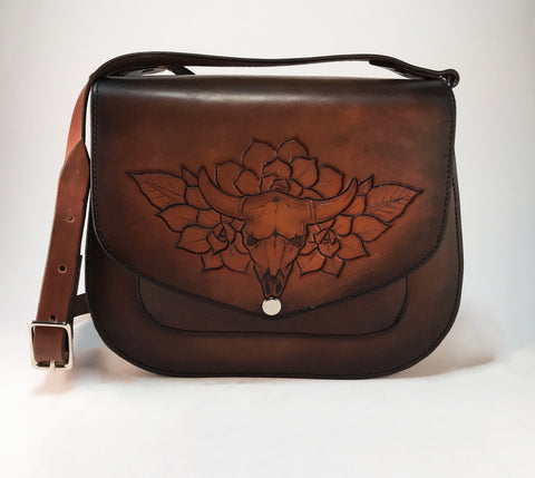 Western Skull & Succulents Saddlebag