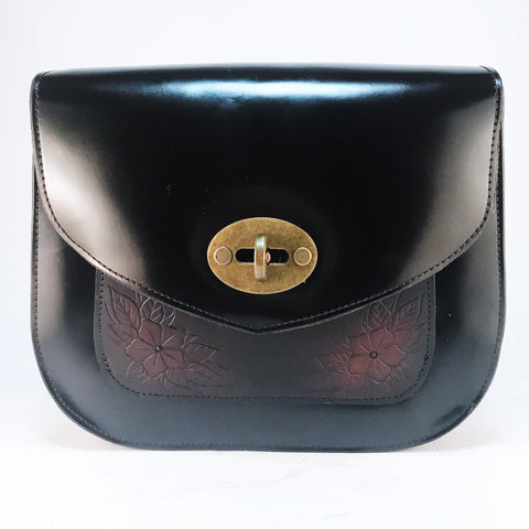 Black Patent Saddlebag with Carved Floral Pocket