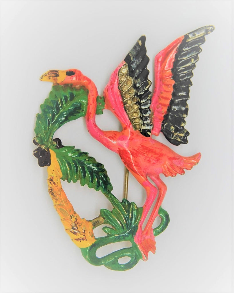 Bauman Massa Art Deco Flamingo Palm Tree Enamel Figural Brooch 1940s