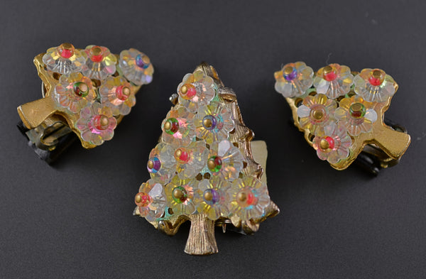 Christmas Tree Crystal Vintage Brooch with Clip Earrings Set - Mink Road Vintage Jewelry