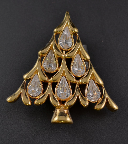 Napier Clear Rhinestone Christmas Tree Pin - Mink Road Vintage Jewelry