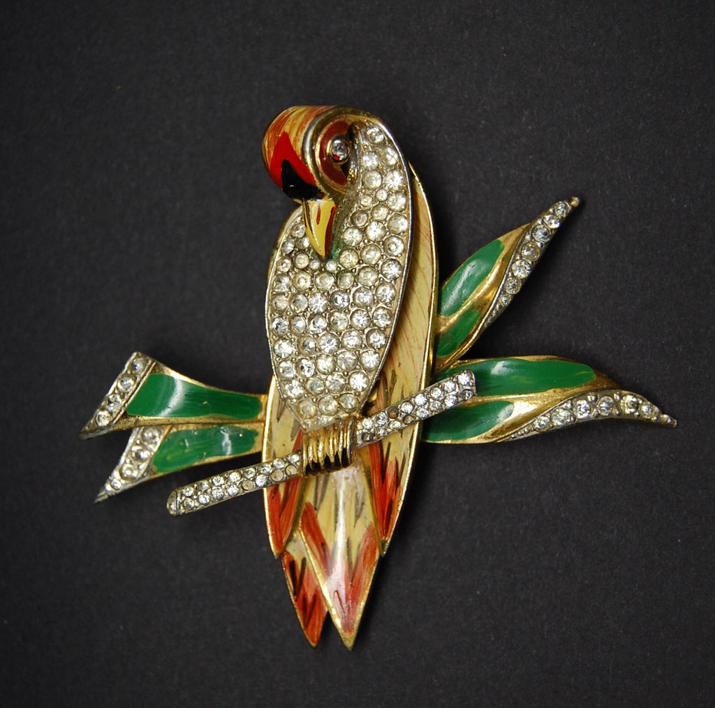 Corocraft Parrot on Branch Figural Sterling Fur Clip Brooch - Mink Road Vintage Jewelry