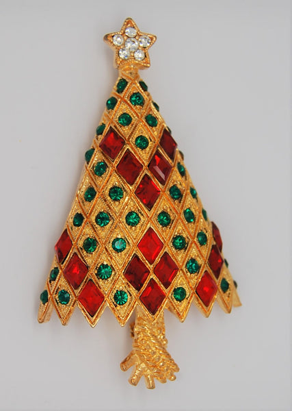 Eisenberg Ice Iconic Red Green Christmas Tree Vintage Figural Brooch