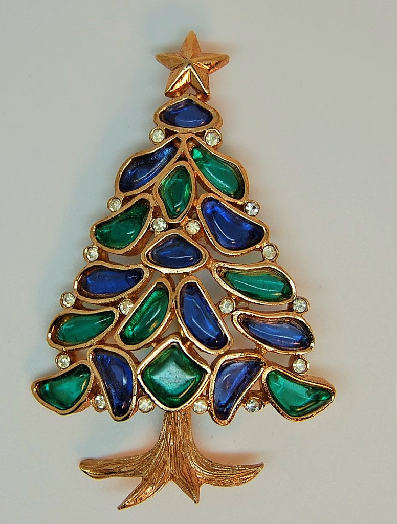 Crown Trifari Stained Glass Christmas Tree Brooch - Mink Road Vintage Jewelry