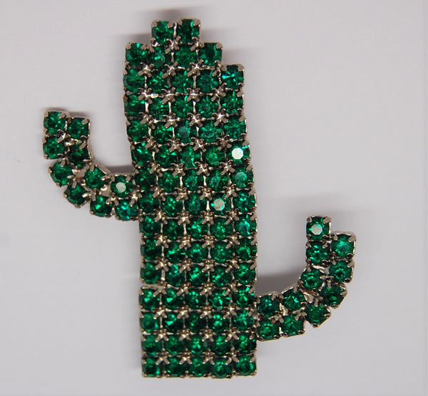 Bauer Cactus Prong-Set Green Rhinestone Vintage Figural Brooch